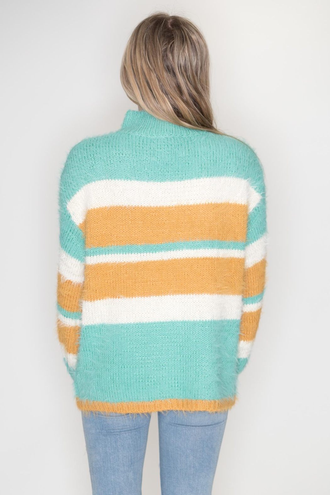 eesome Striped Fuzzy Sweater - Side Cropped Image
