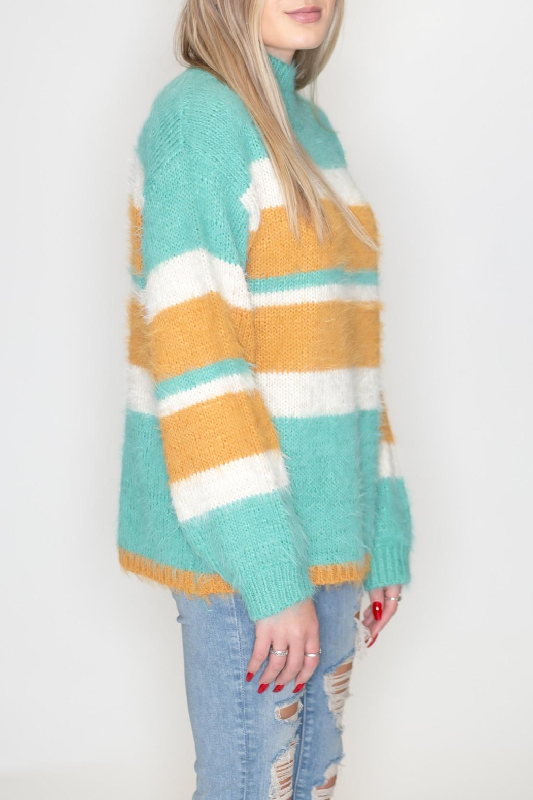 eesome Striped Fuzzy Sweater - Front Full Image