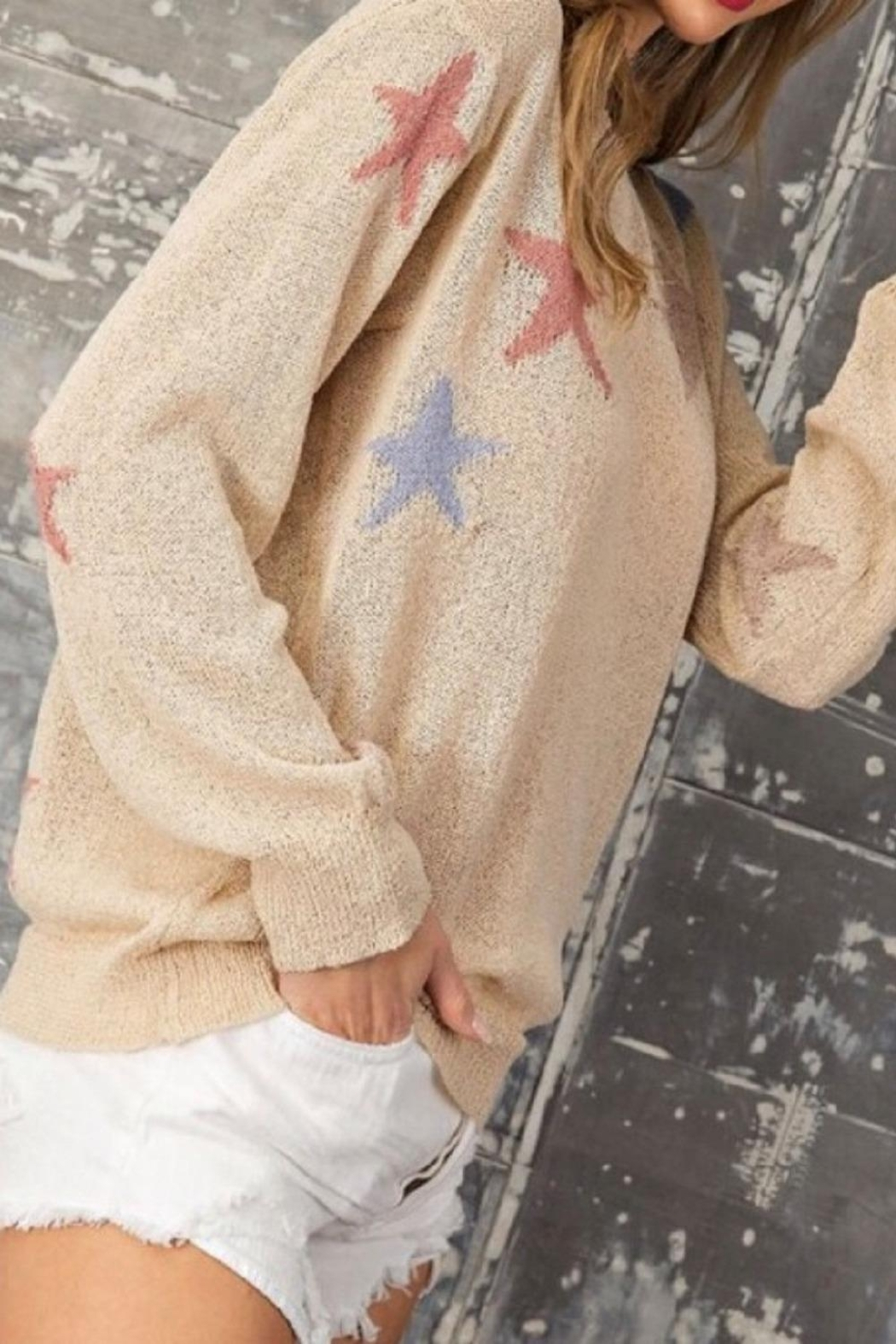 eesome Tan Star Sweater - Front Full Image
