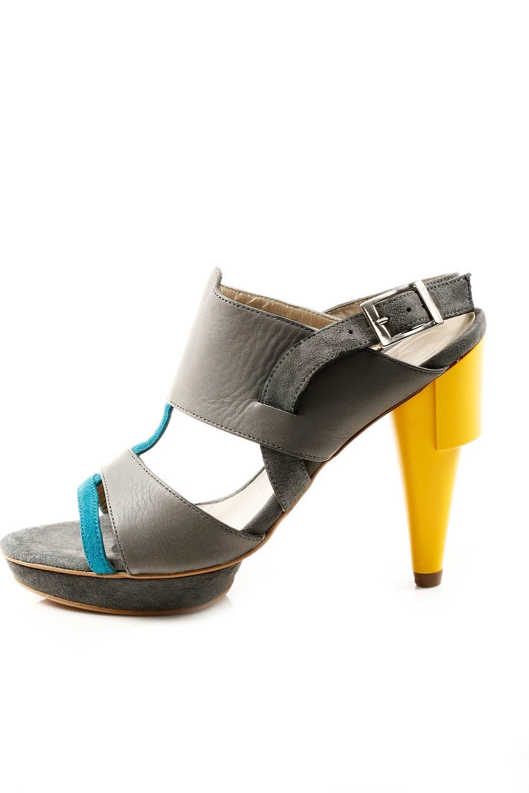 Guava Leather and Suede Heel Sandal - Side Cropped Image