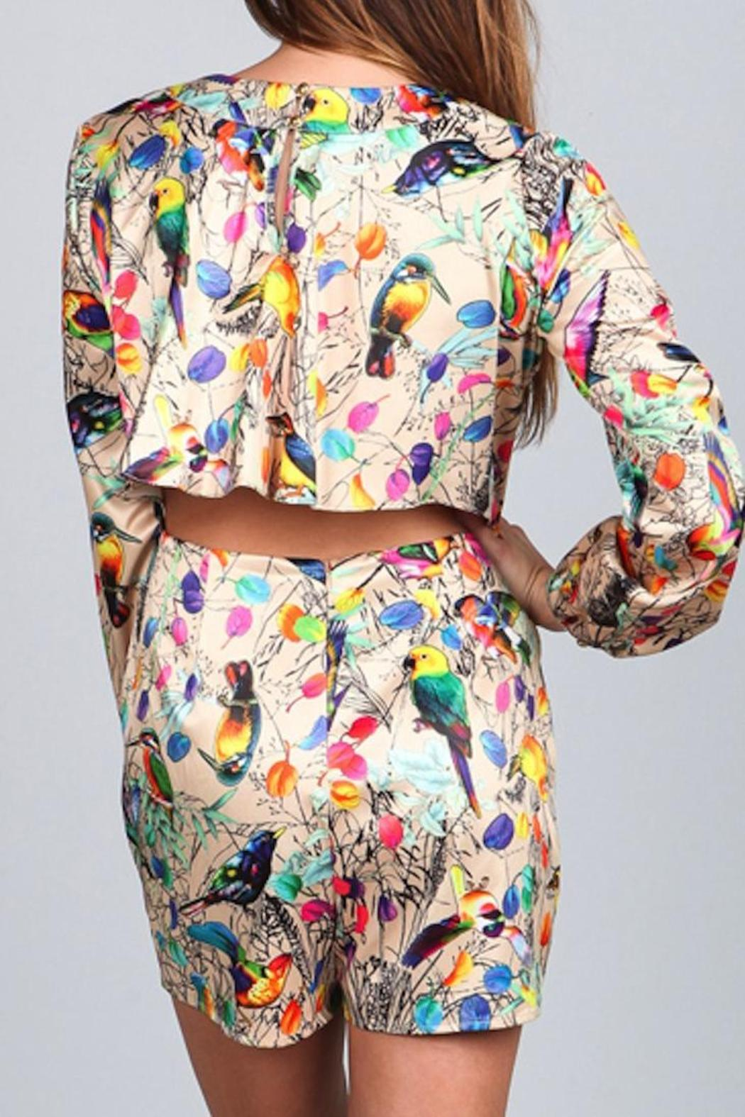 A79 Print Pleated Romper - Front Full Image