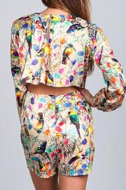 A79 Print Pleated Romper - Front full body