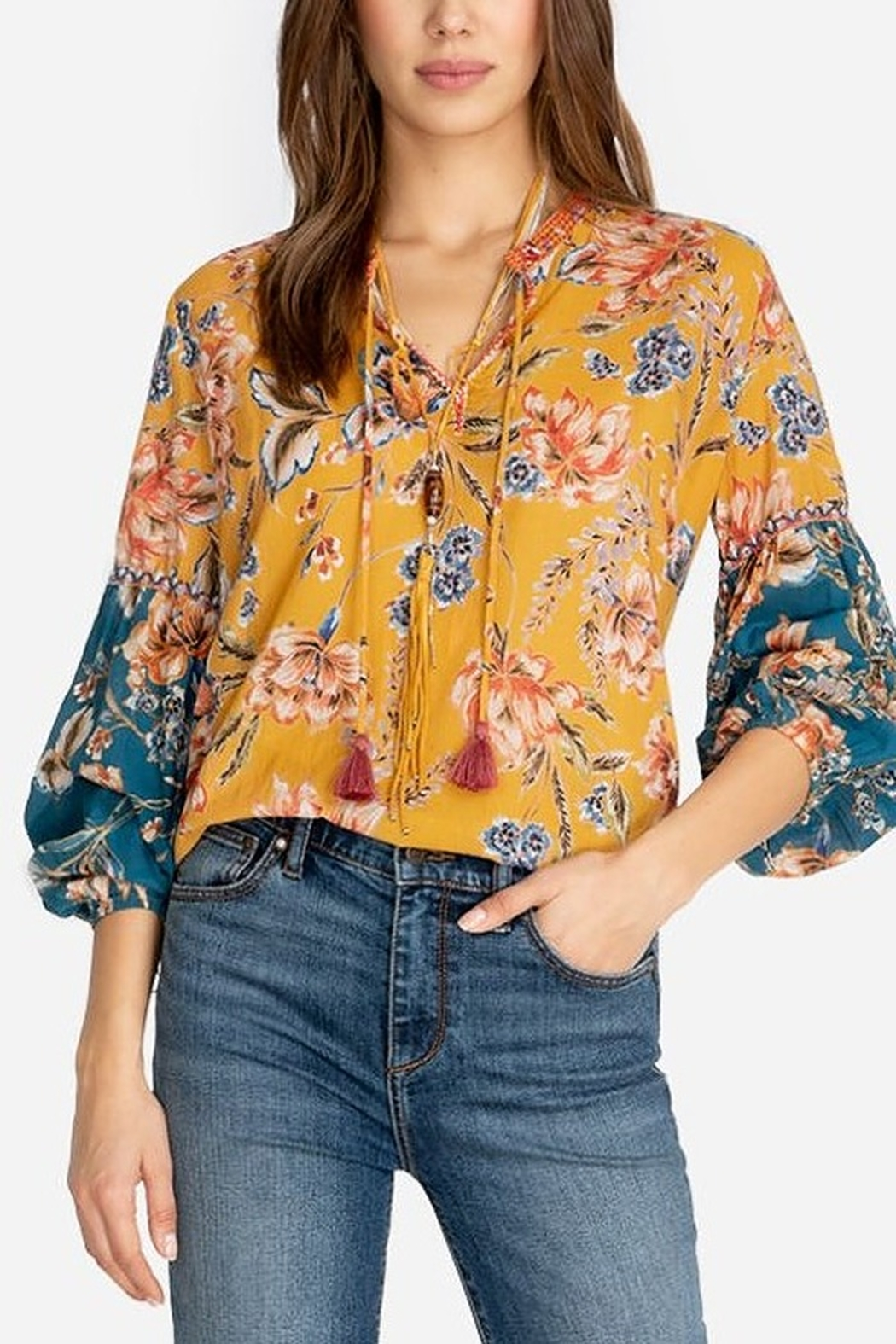 Johnny Was Effortless Peasant Blouse - Front Cropped Image