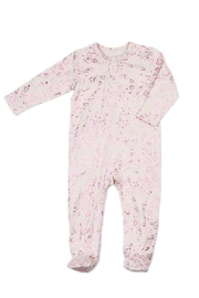 Egg  by Susan Lazar Metallic Pink-Hearts Zipper-Footie - Front cropped