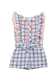 Egg  by Susan Lazar Navy Checked Romper - Front cropped
