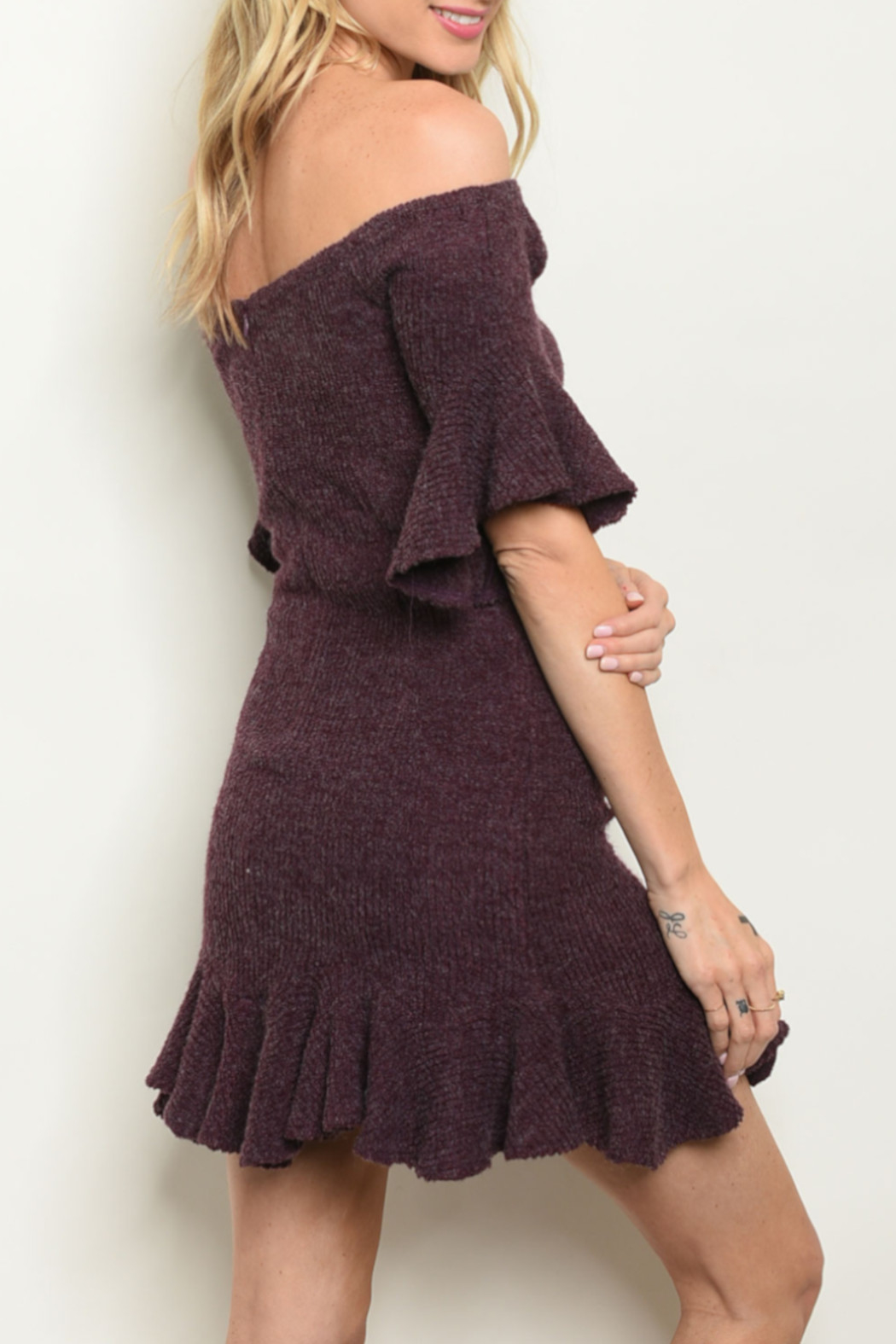 luxxel Eggplant Flare Dress - Front Full Image