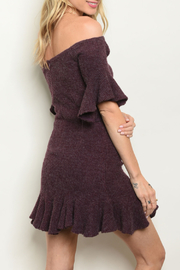 luxxel Eggplant Flare Dress - Front full body
