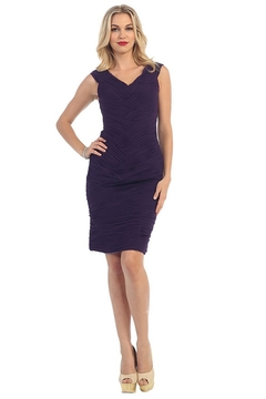 Shoptiques Product: Eggplant Pleated Short Dress
