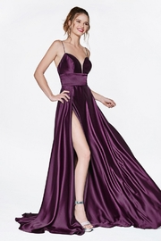 Cinderella Divine Eggplant Satin A-Line Long Formal Dress - Product Mini Image