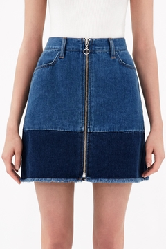 Shoptiques Product: Block Zip-Front Denim