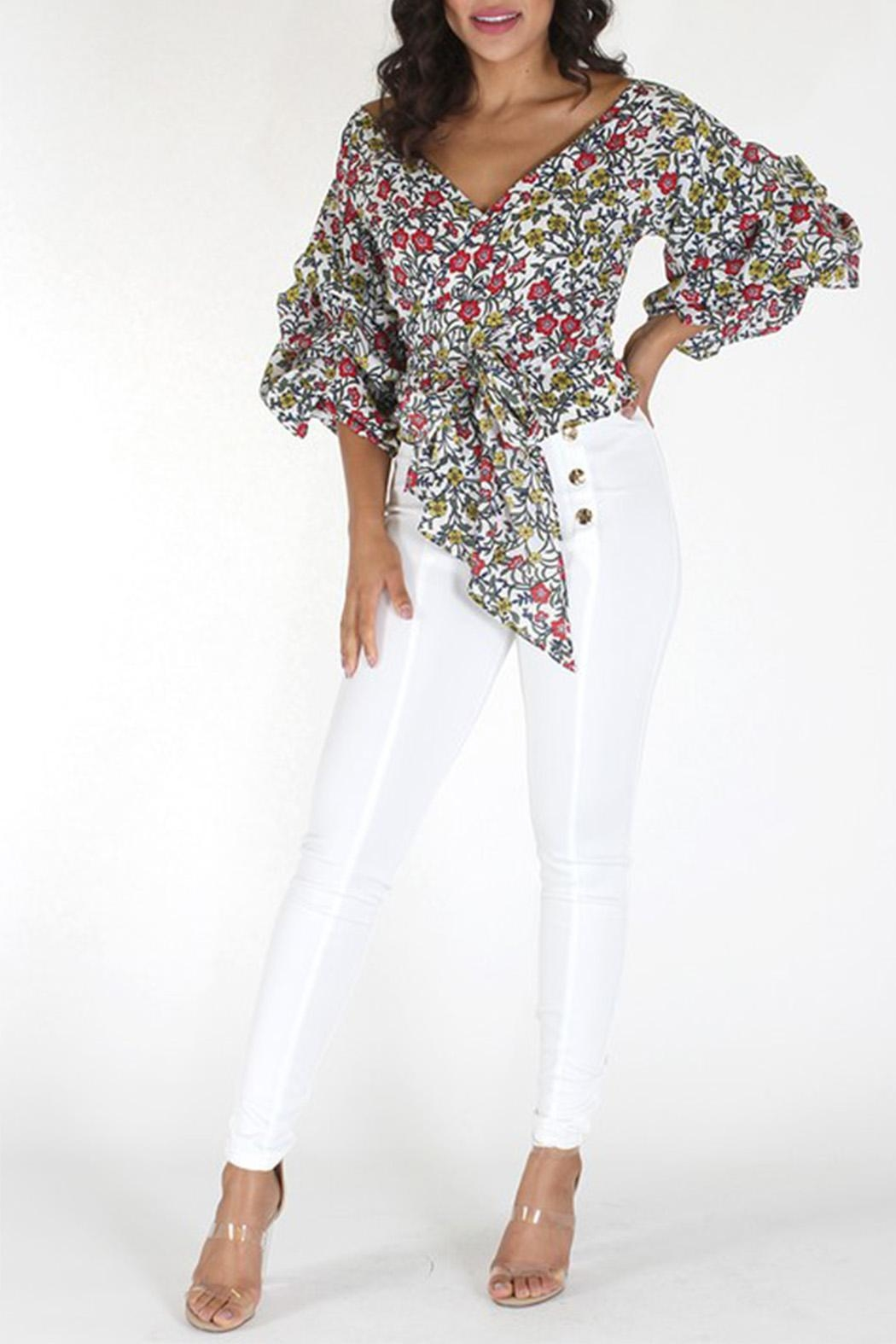 Eien Floral Gingham Top - Main Image
