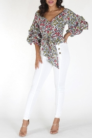 Eien Floral Gingham Top - Front cropped
