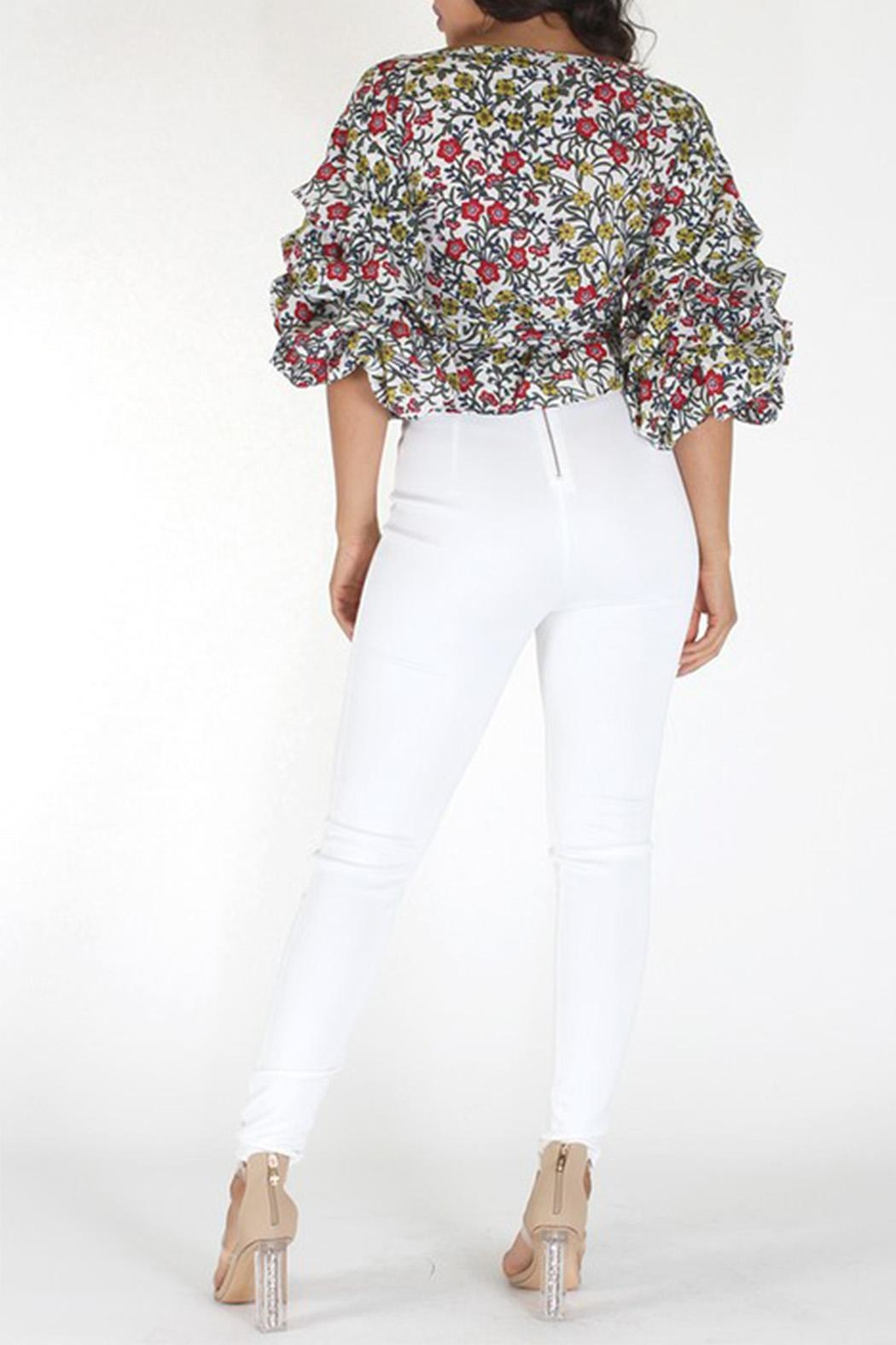 Eien Floral Gingham Top - Side Cropped Image
