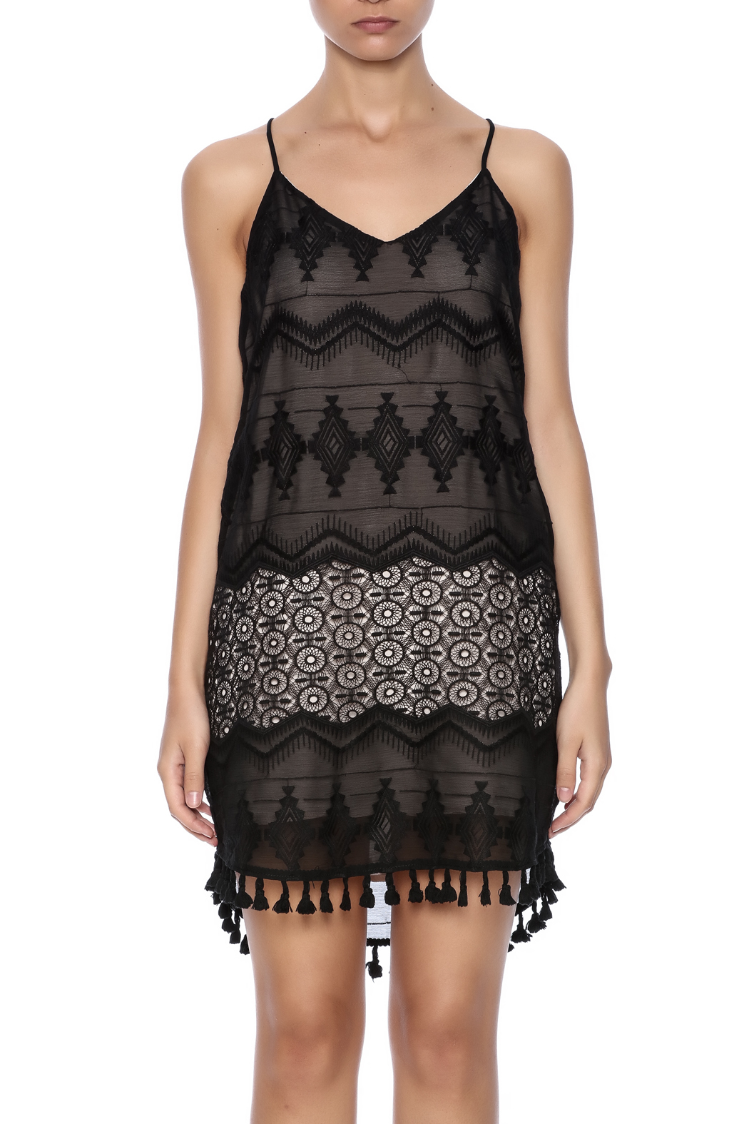 Eight Sixty Black Lace Dress - Side Cropped Image