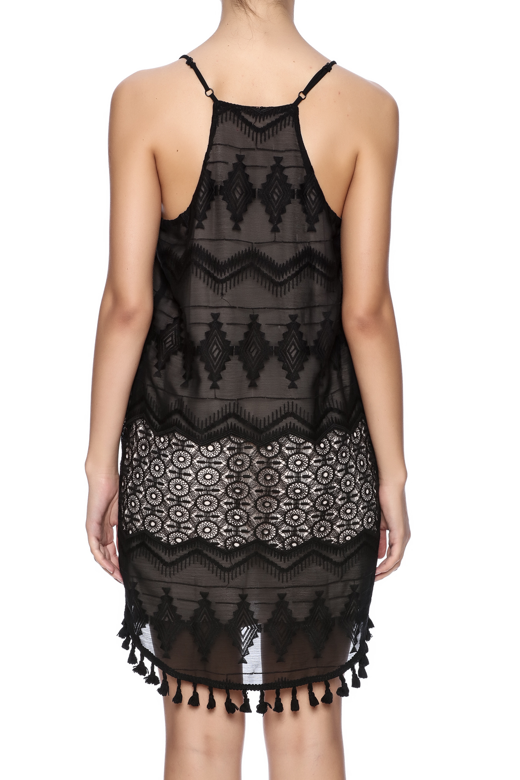 Eight Sixty Black Lace Dress - Back Cropped Image