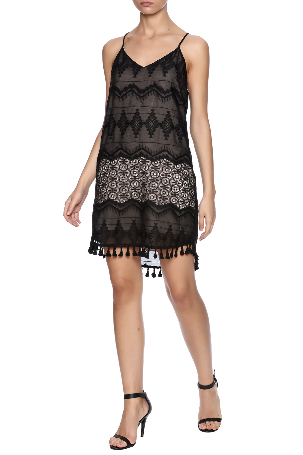 Eight Sixty Black Lace Dress - Front Full Image