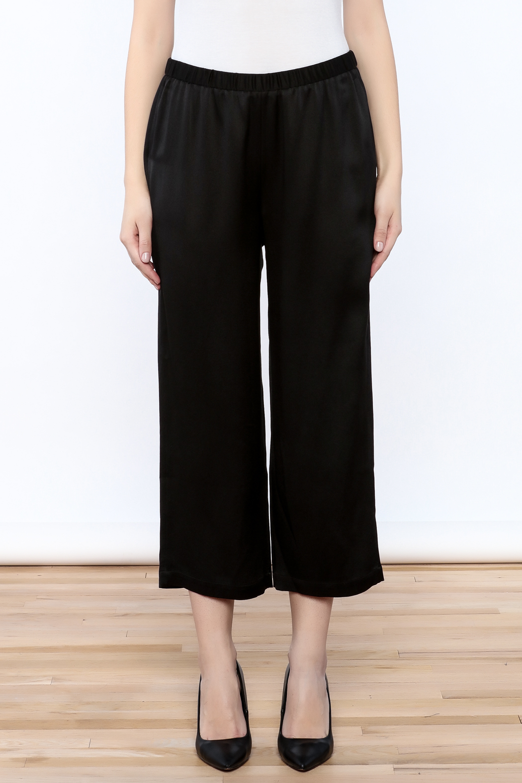 Eileen Fisher Black Silk Pant - Side Cropped Image