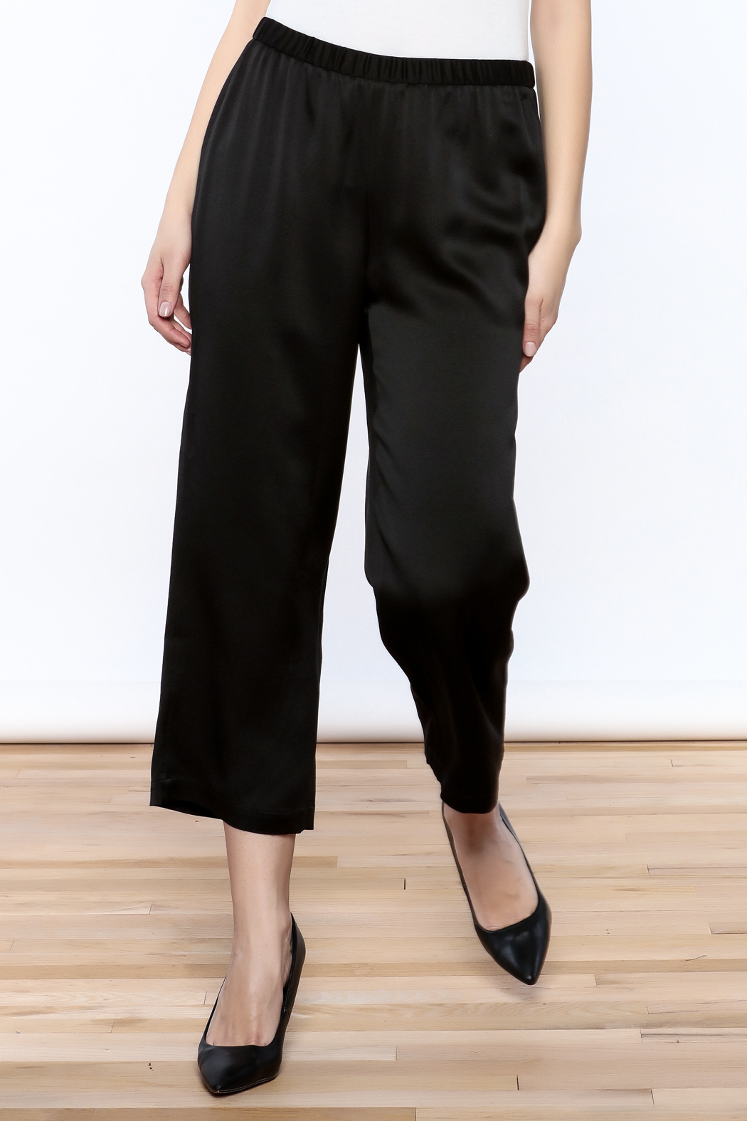 Eileen Fisher Black Silk Pant - Main Image