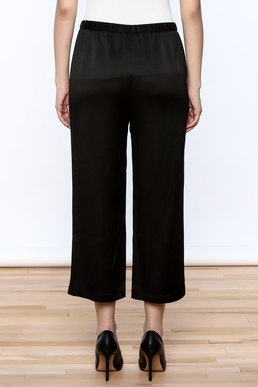 Eileen Fisher Black Silk Pant - Back Cropped Image