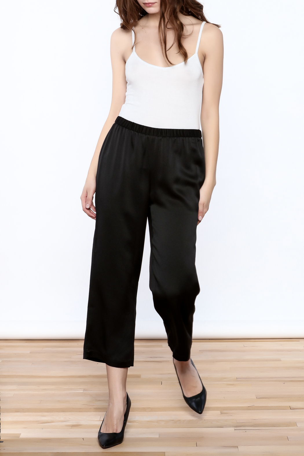 Eileen Fisher Black Silk Pant - Front Full Image