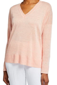 Eileen Fisher V-Neck Organic Linen Boxy Sweater - Product List Image