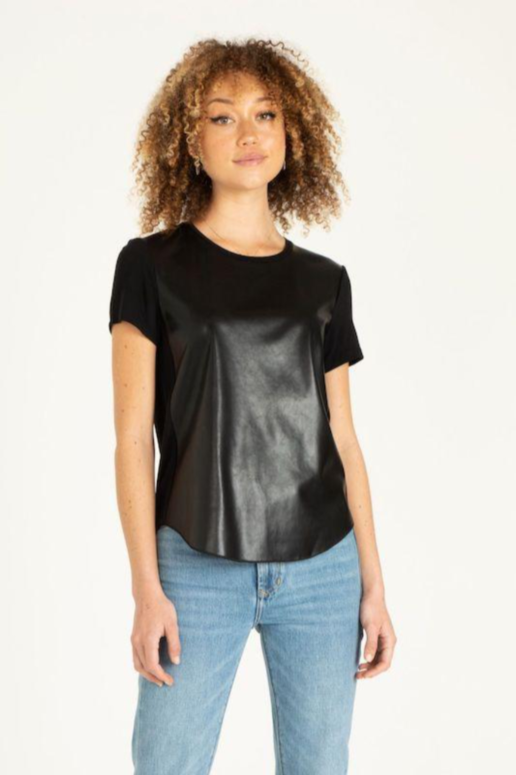 Another Love Elaina Faux Leather Front Short Sleeve Top - Main Image