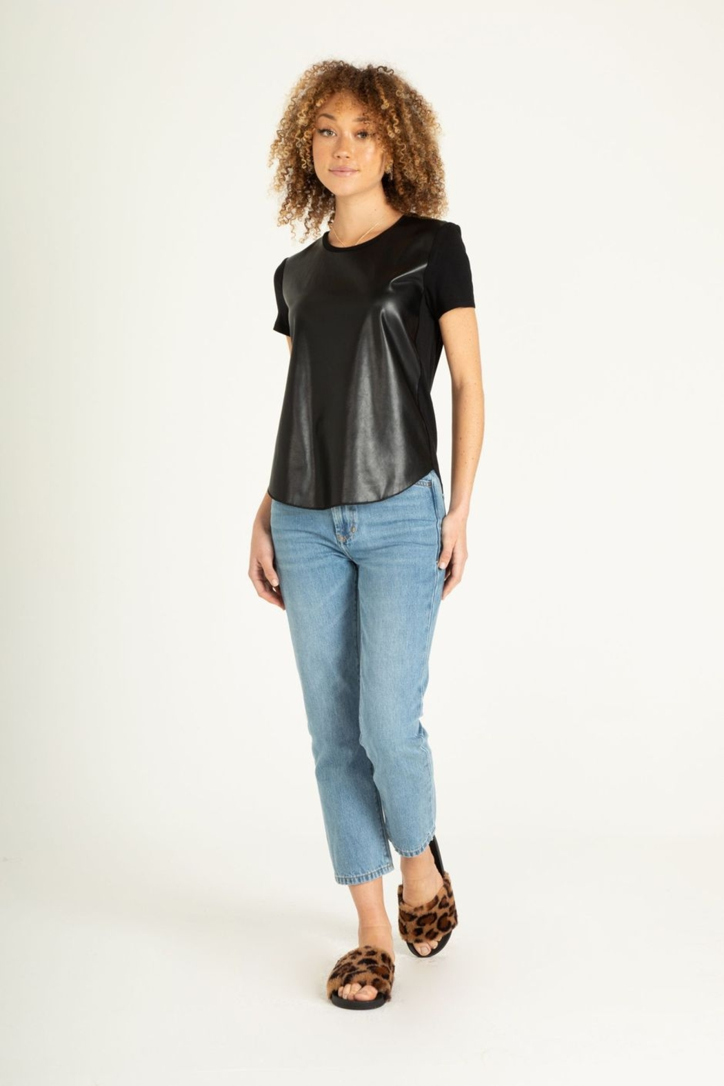Another Love Elaina Faux Leather Front Short Sleeve Top - Side Cropped Image