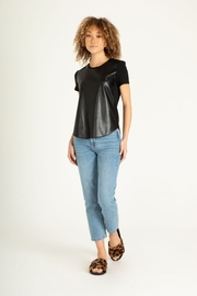 Another Love Elaina Faux Leather Front Short Sleeve Top - Side cropped