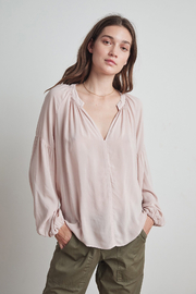 Velvet by Graham & Spencer  Elaine Rayon Challis Peasant Top - Product Mini Image