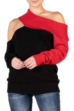 Elan Black Cold-Shoulder Sweater - Alternate List Image