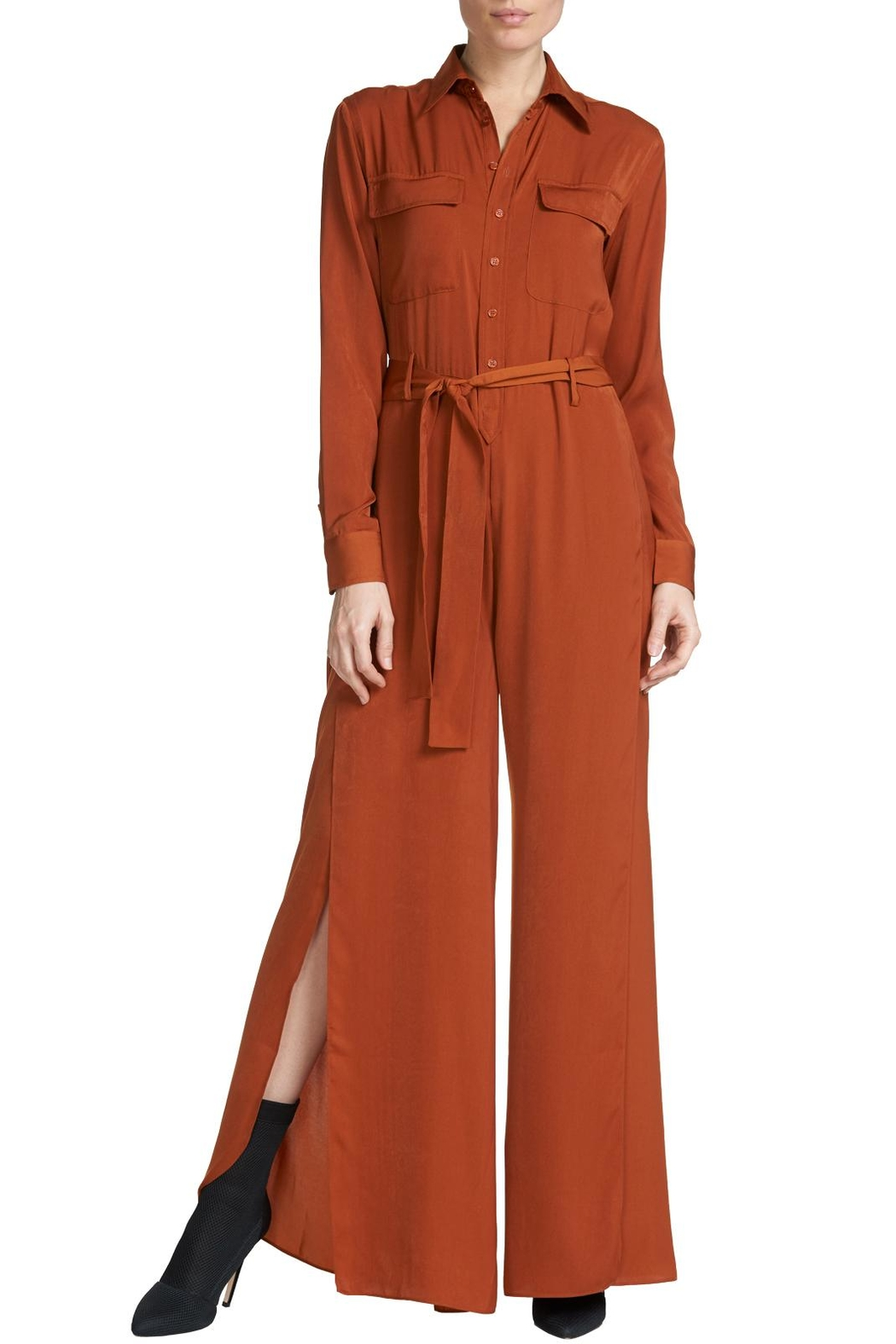 Elan Button Down Jumpsuit - Front Full Image