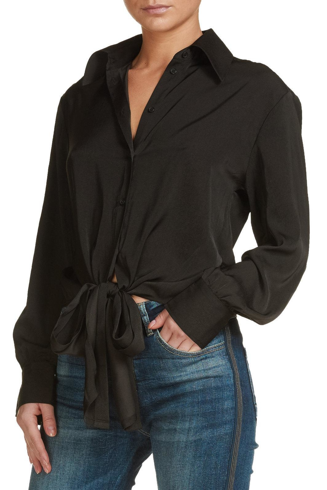 Elan Button Front Blouse - Front Cropped Image