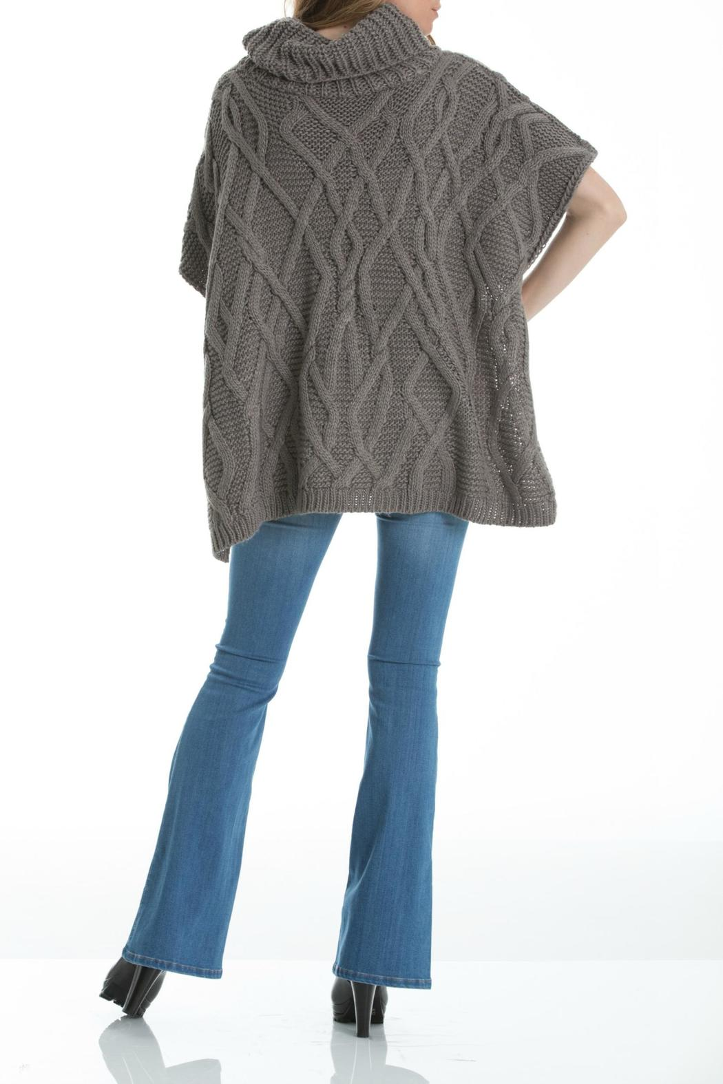Elan Cableknit Cowl-Neck Poncho - Front Full Image