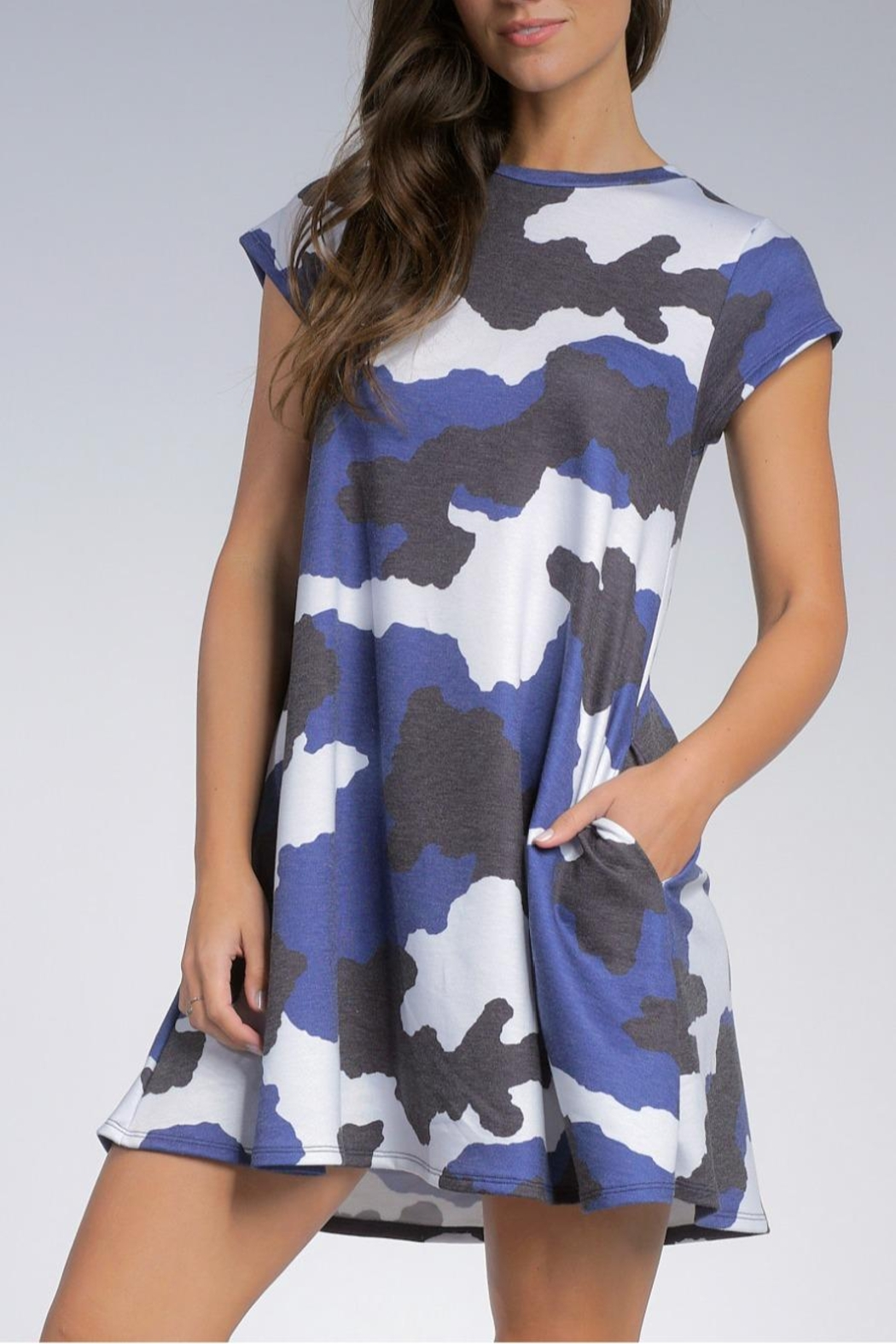Elan Camo Pocketed Dress - Front Full Image