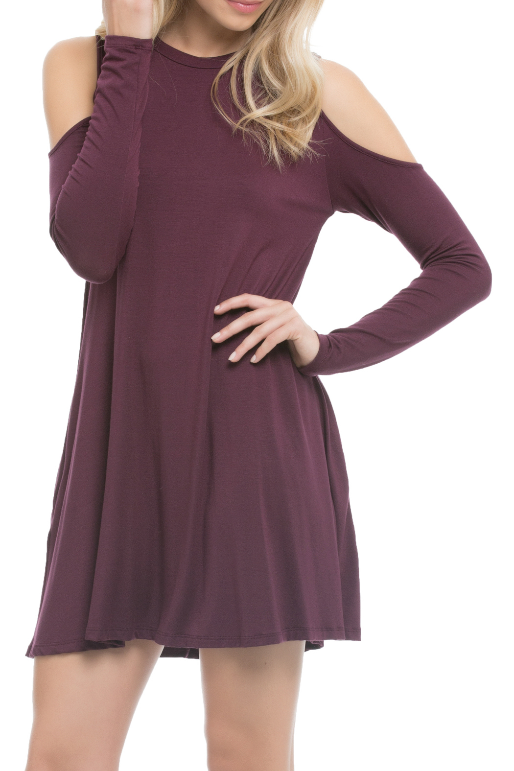 Elan Cold Shoulder Pocket Dress - Front Cropped Image