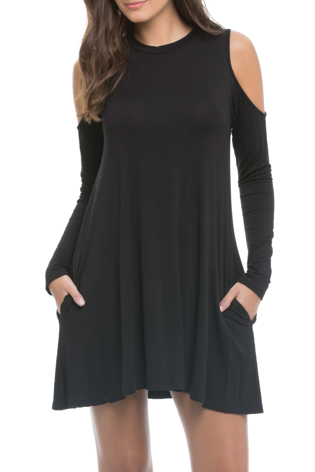 Elan Cold Shoulder Pocket Dress - Main Image