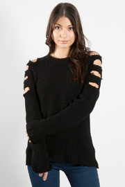 Elan Cold Shoulder Slit Sweater - Product Mini Image