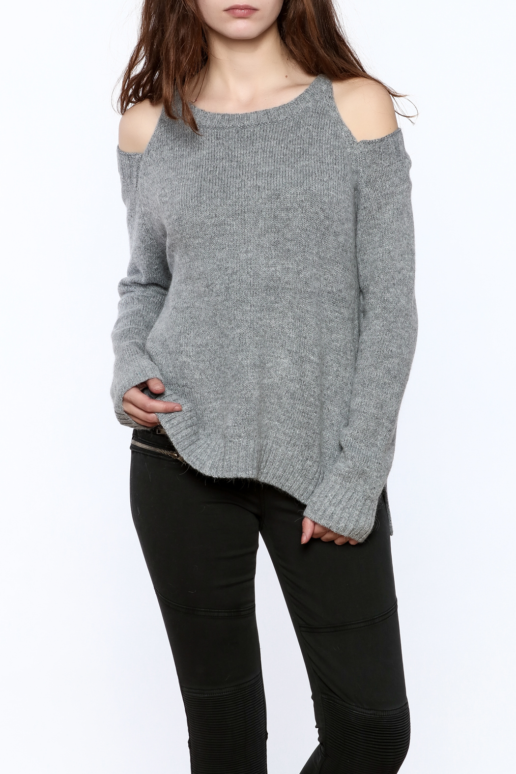 bd8153d7e9aec7 Elan Angora Cold Shoulder Sweater from Chicago by Belle Noire ...