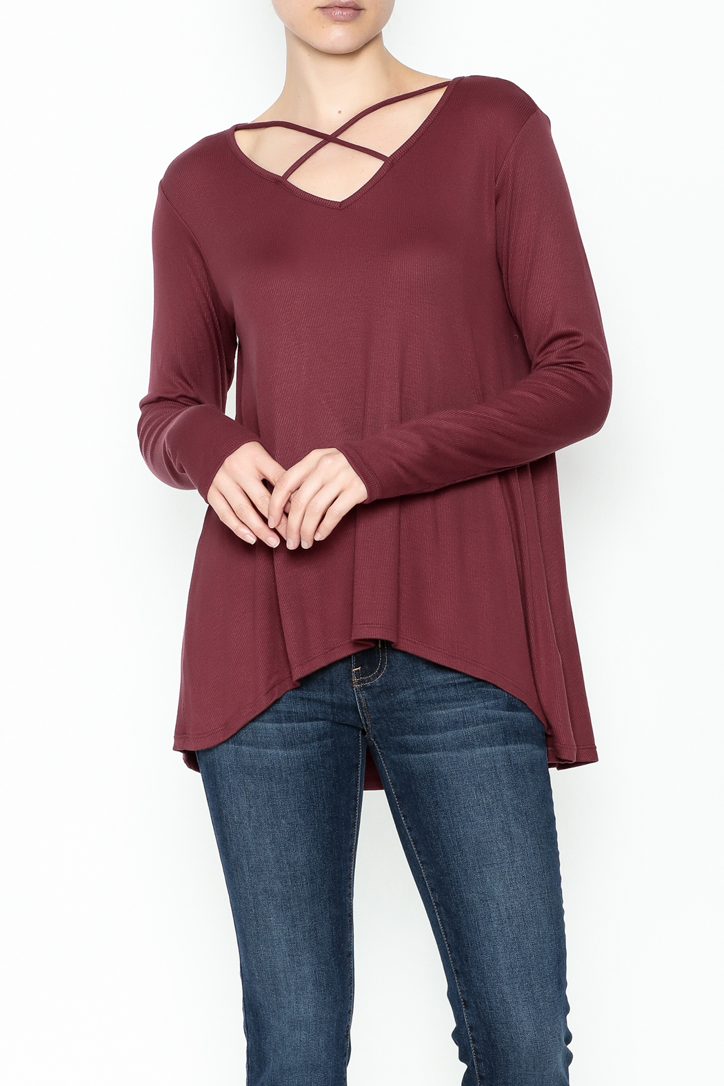 Elan Criss Cross Top - Front Cropped Image