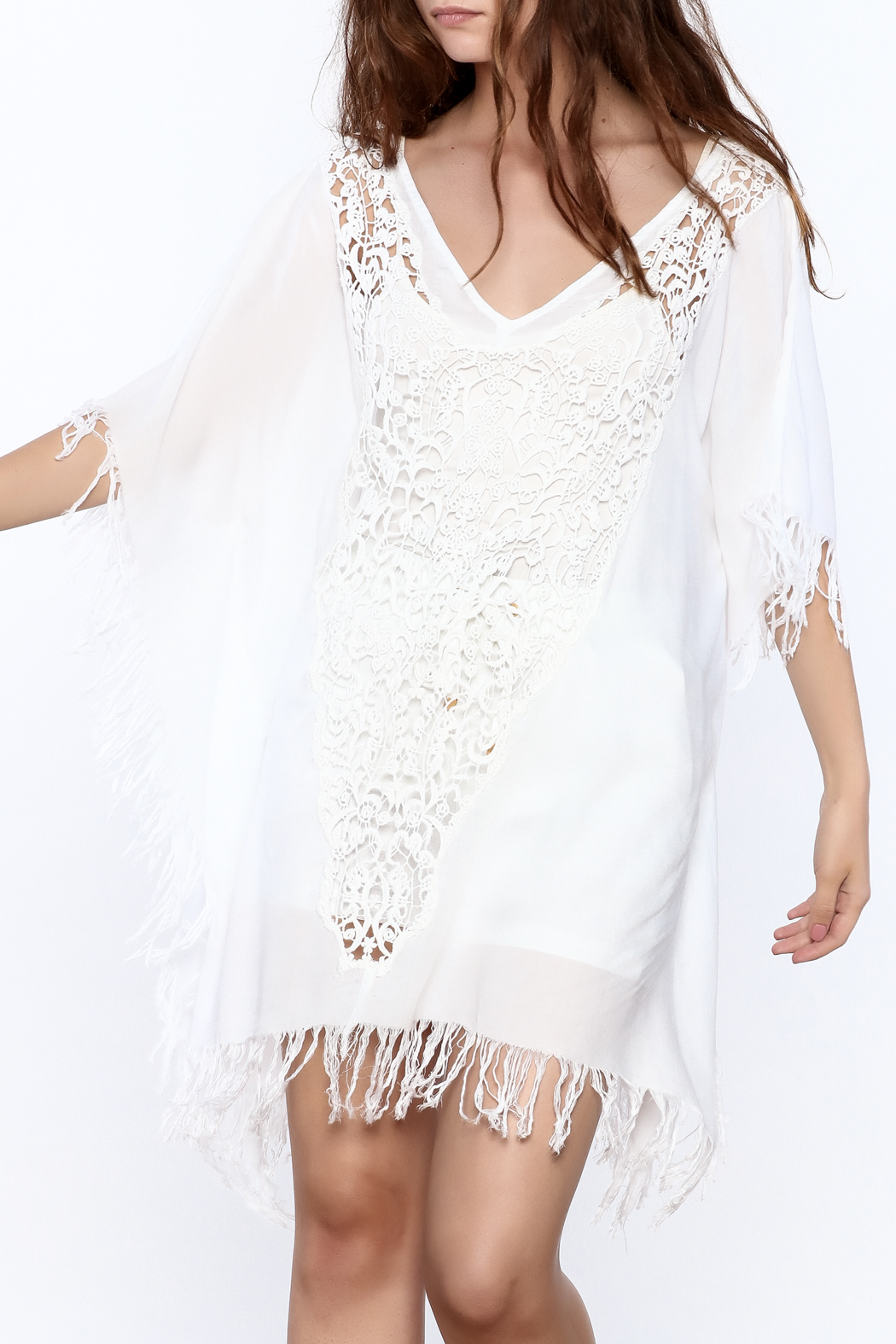 Elan White Crochet Cover Up - Front Cropped Image