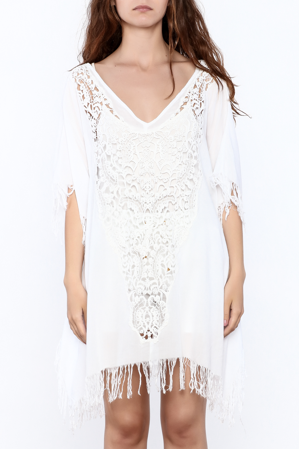 Elan White Crochet Cover Up - Side Cropped Image