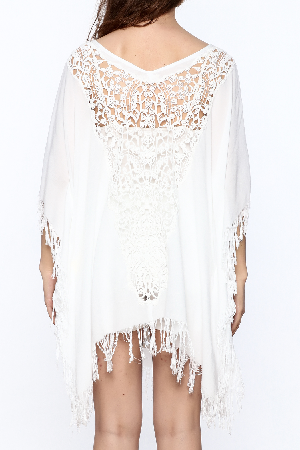Elan White Crochet Cover Up - Back Cropped Image