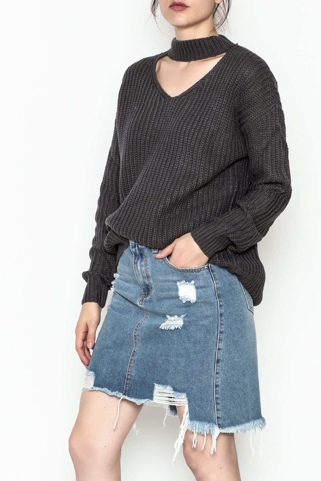 Elan Cutout Neck Sweater - Front Cropped Image