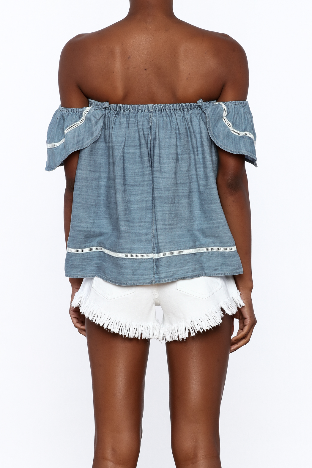 Elan Soft Denim Top - Back Cropped Image