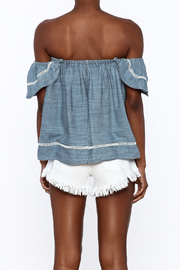 Elan Soft Denim Top - Back cropped