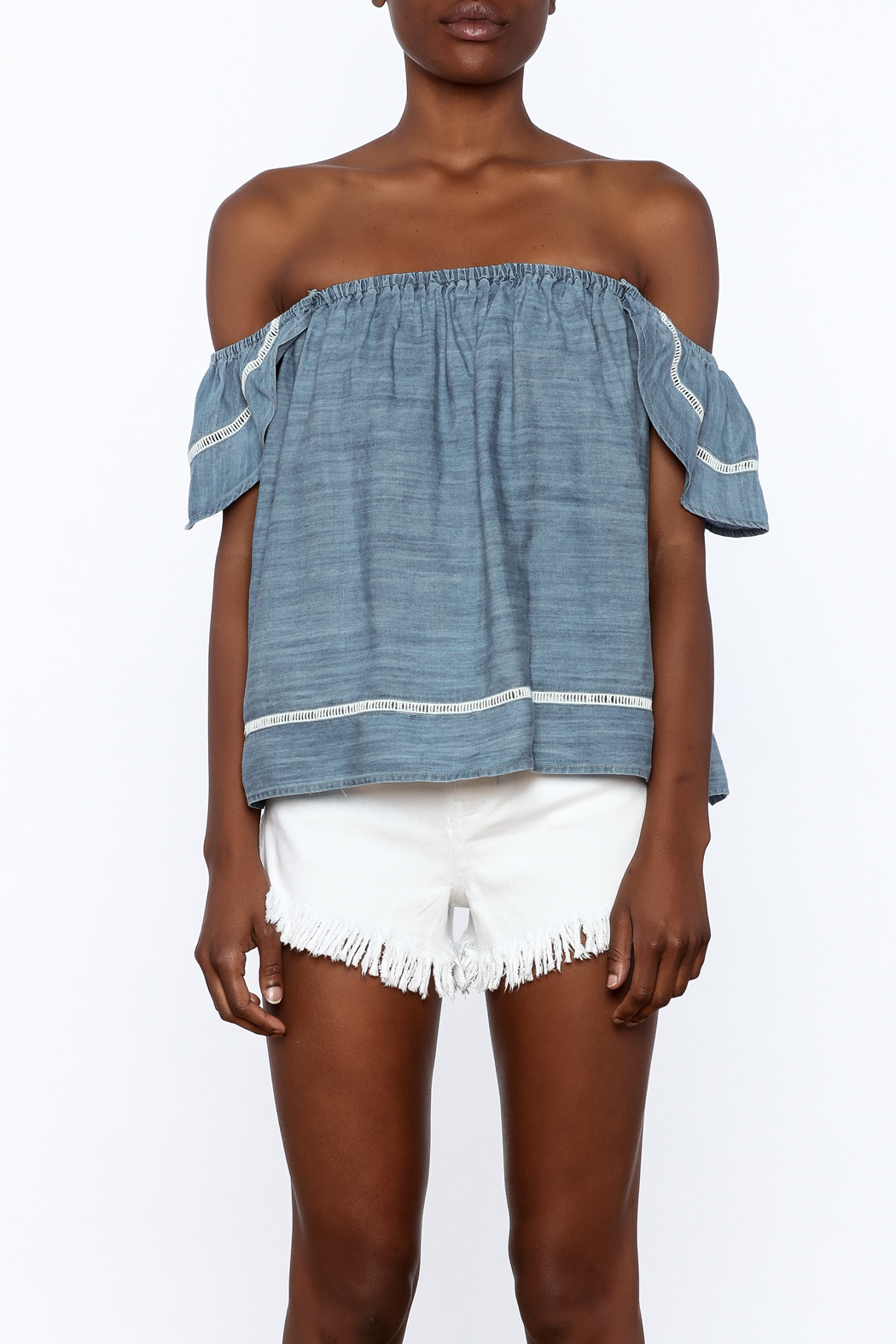 Elan Soft Denim Top - Side Cropped Image