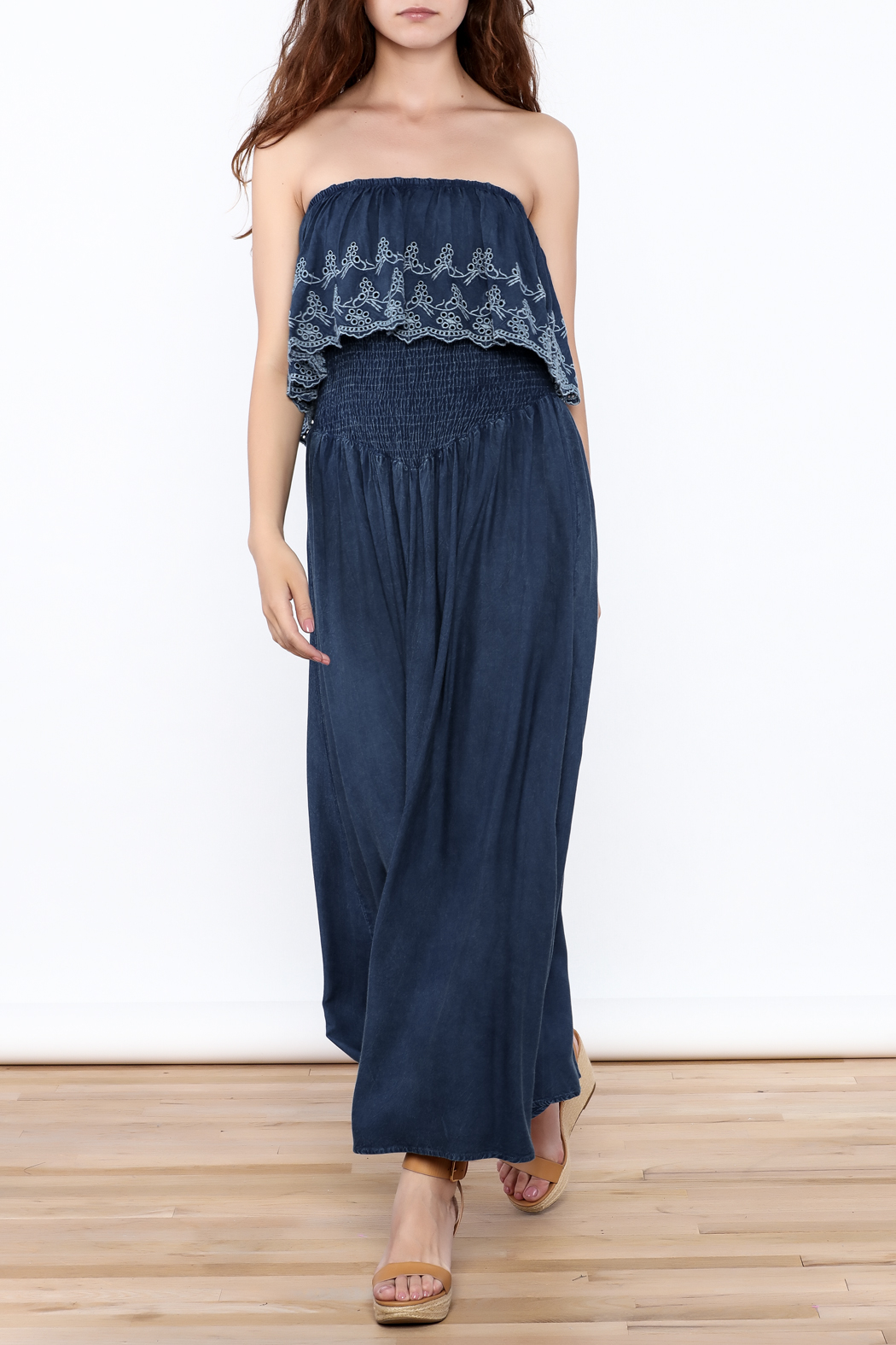 Elan Denim Maxi Dress - Front Full Image