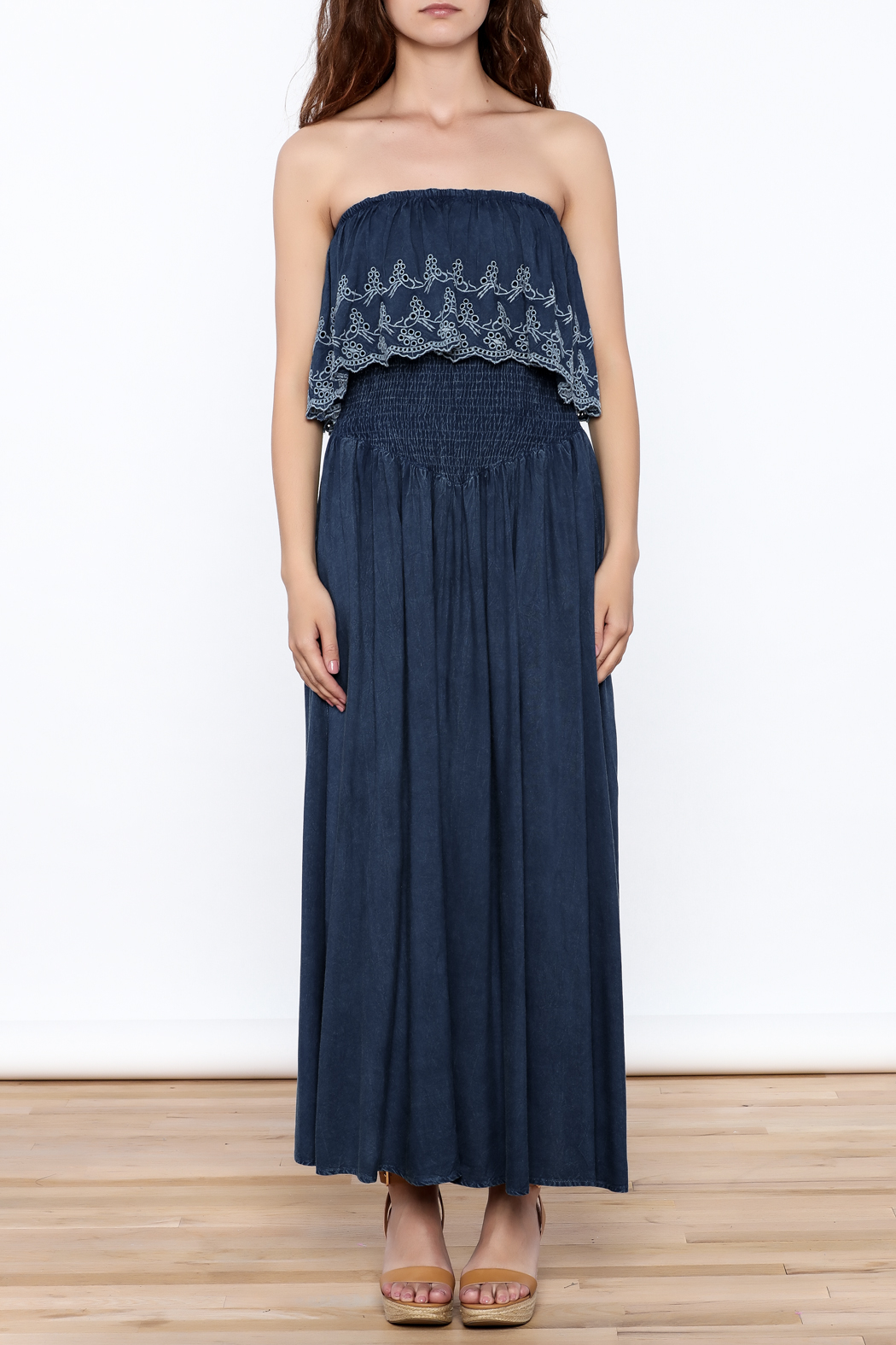 Elan Denim Maxi Dress - Front Cropped Image
