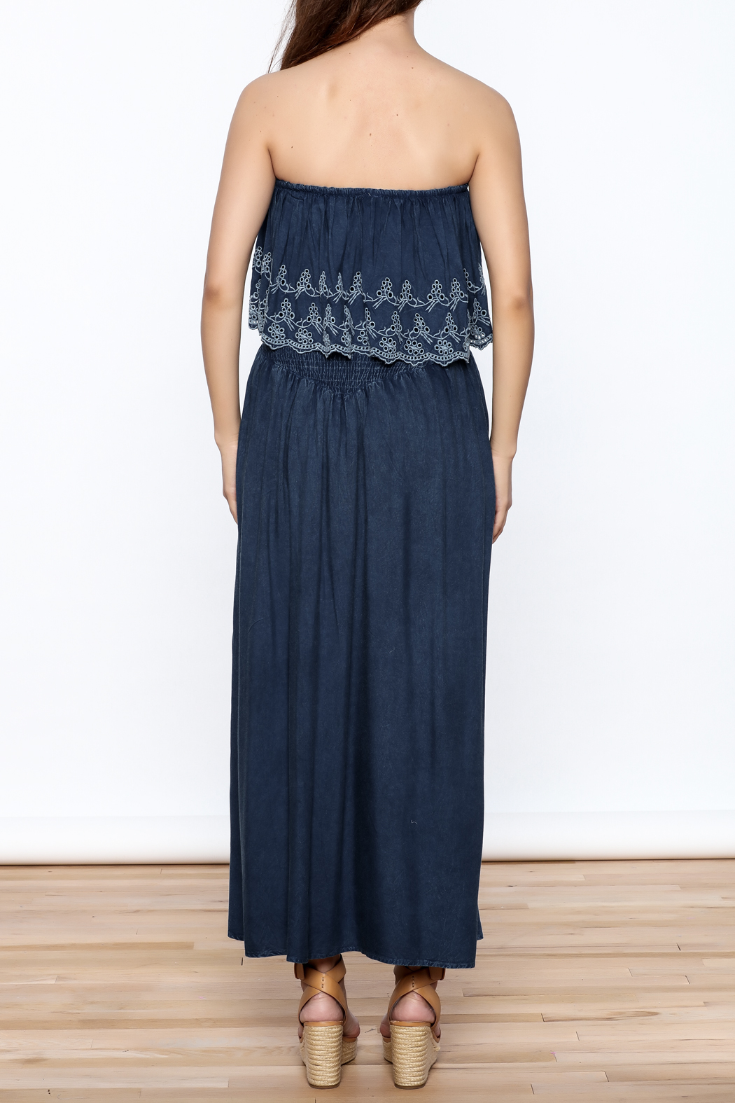 Elan Denim Maxi Dress - Back Cropped Image