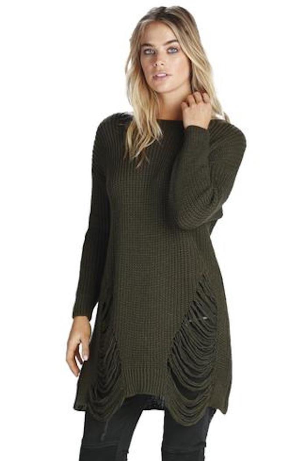 Elan Distressed Tunic Sweater - Main Image
